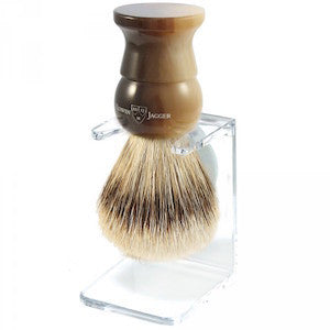 Edwin Jagger Shaving Brush Super Badger and Stand Medium Horn Brown EJ28 - Jimmy Figg's Bare-knuckle Barber - Beard/Shaving Product