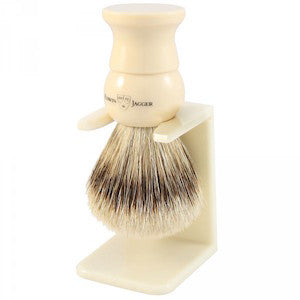 Edwin Jagger Shaving Brush Super Badger and Stand Medium Ivory EJ28 - Jimmy Figg's Bare-knuckle Barber - Beard/Shaving Product
