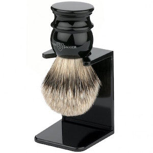 Edwin Jagger Shaving Brush Silvertip Badger and Stand Large Ebony EJ46 - Jimmy Figg's Bare-knuckle Barber - Beard/Shaving Product