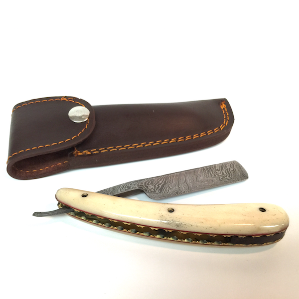Handmade Damascus Cutthroat Straight Razor with Polished Bone - Jimmy Figg's Bare-knuckle Barber - Beard/Shaving Product - 3
