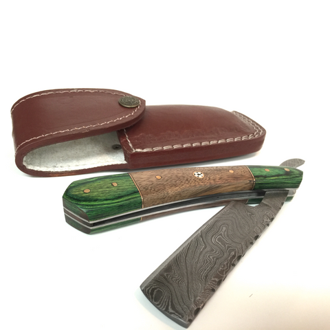 Handmade Damascus Cutthroat Straight Razor with Rosewood and Green Dollar Sheath - Jimmy Figg's Bare-knuckle Barber - Beard/Shaving Product - 1