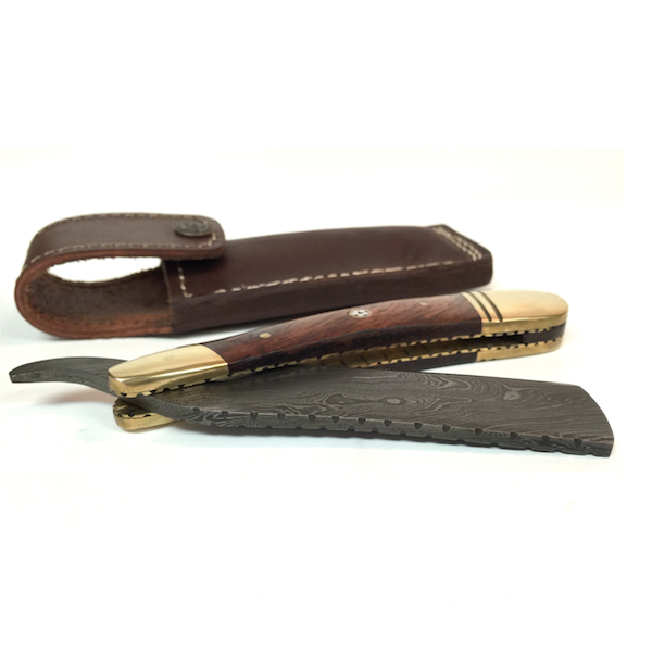 Handmade Damascus Cutthroat Straight Razor with Rosewood and Brass - Jimmy Figg's Bare-knuckle Barber - Beard/Shaving Product - 1