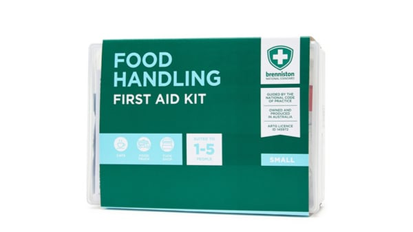 National Food Handling Small First Aid Kit is ready to treat burns, cuts and wounds with visually detectable blue dressings, hydrogel and gloves