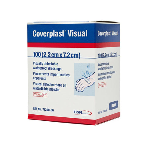 Blue Visual Dressing Strips 7.2cm x 2.2cm (100)