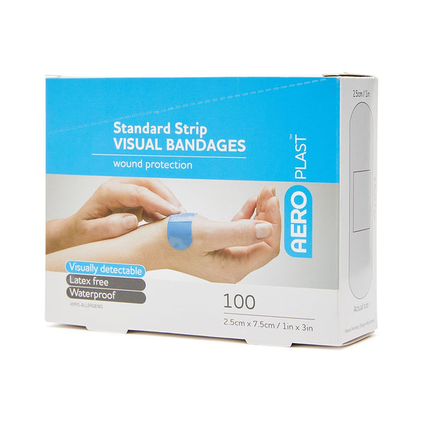 Blue Visual Dressing Strips Wide 7.5cm x 2.5cm (100)
