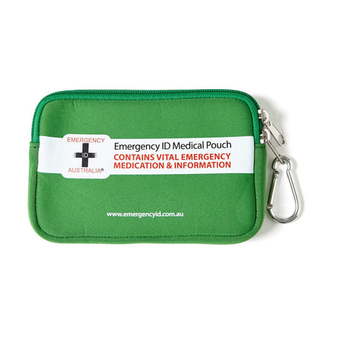 Medical Emergency ID Pouch - Green - Small