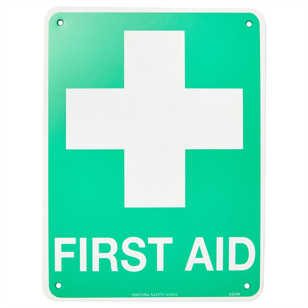 First Aid Sign Flat Poly 300mm x 225mm - Brenniston