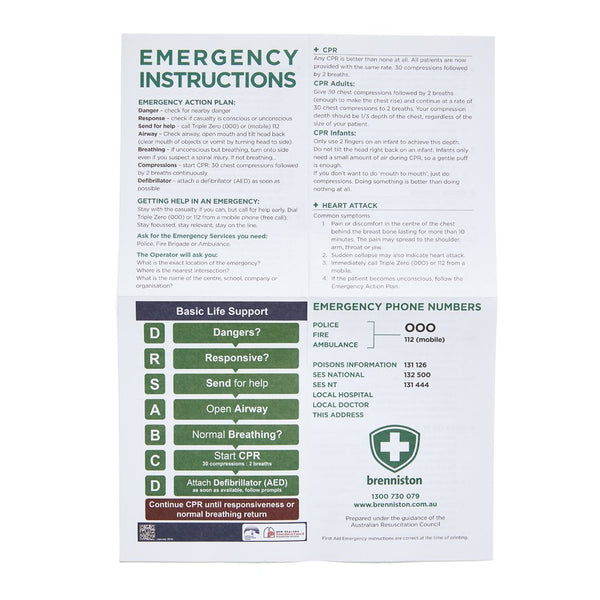 First Aid Instruction Sheet - Brenniston