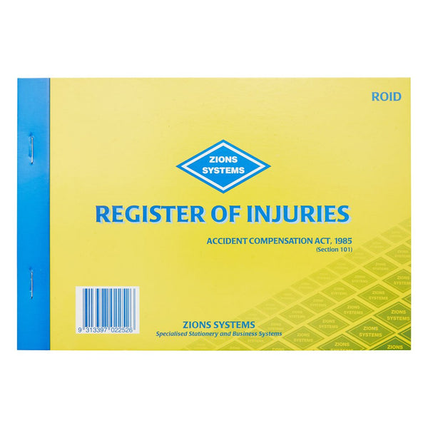 Register of Injuries Pad Duplicate 25pp