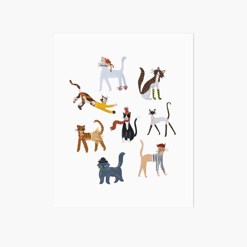 Party of Cats Art Print - Pointebrush