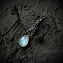 Black Death Pendant - Moonstone - 18 inches - Ready to Send