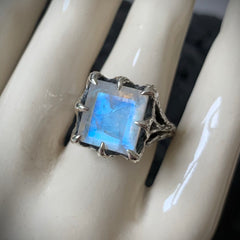 The Dark Embrace Ring (Rainbow Moonstone and Grey Moonstone)