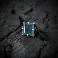 The Dark Embrace Ring (Labradorite and Moss Aquamarine version)