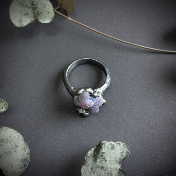 Grape Agate Ring VI OOAK - Size 6