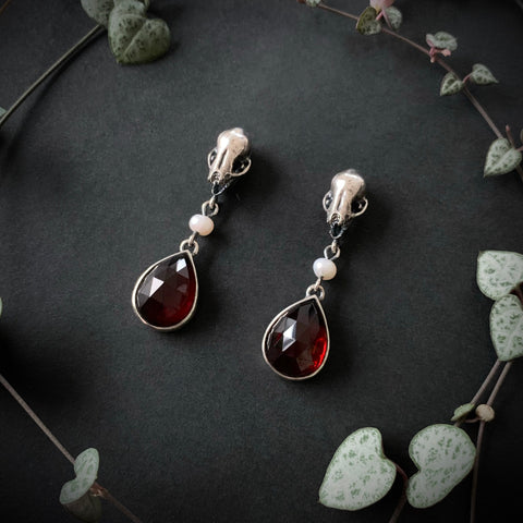 Nadja Earrings - Garnet - OOAK - Ready to Send