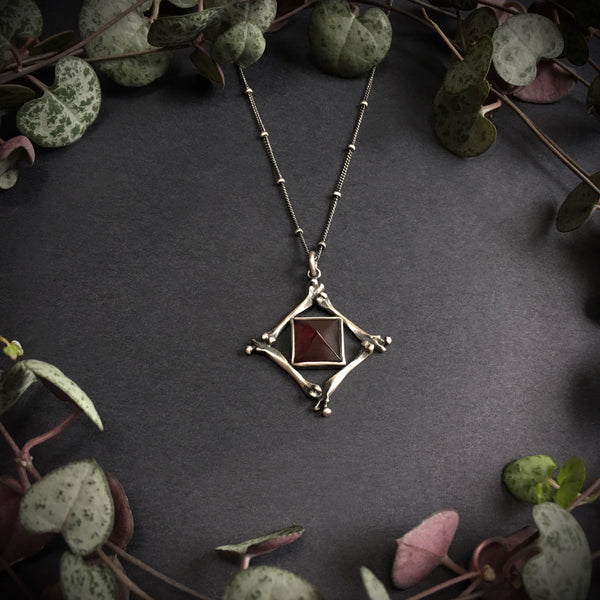 Pharaoh's Tomb Pendant - Garnet - 16 Inches - Ready to Send