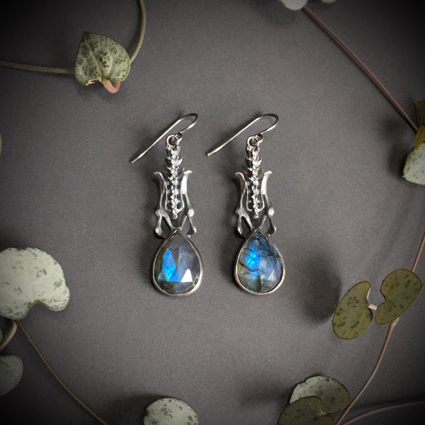 Black Death Earrings - Labradorite - Ready To Send