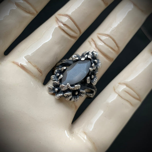 Nightshade Ring - Dark Grey Moonstone - Size 8.5 - Ready to Send
