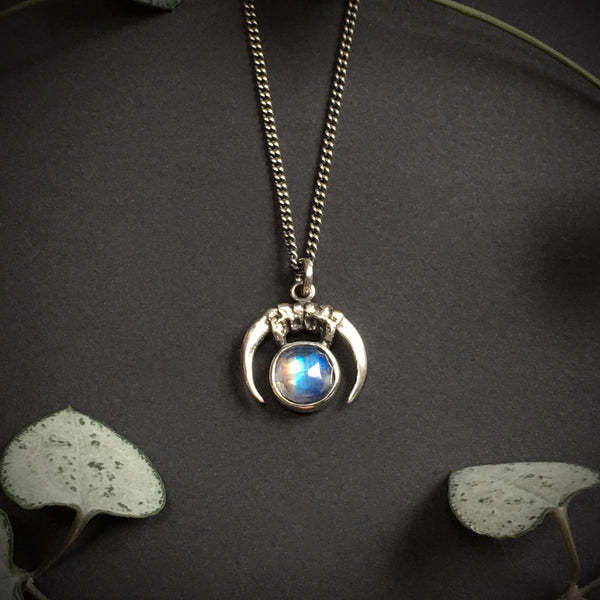 Luna Obscura Pendant - Rainbow Moonstone - 16 inches - Ready to ship
