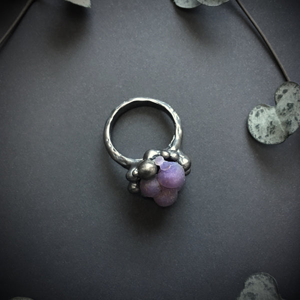 Grape Agate Ring VII OOAK - Size 6.5