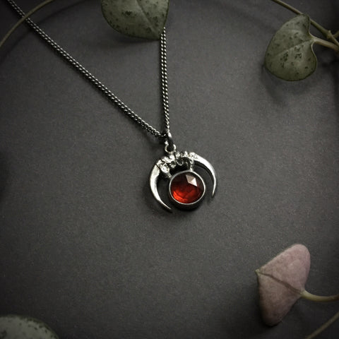 Luna Obscura Pendant - Garnet 18 inches - Ready to ship