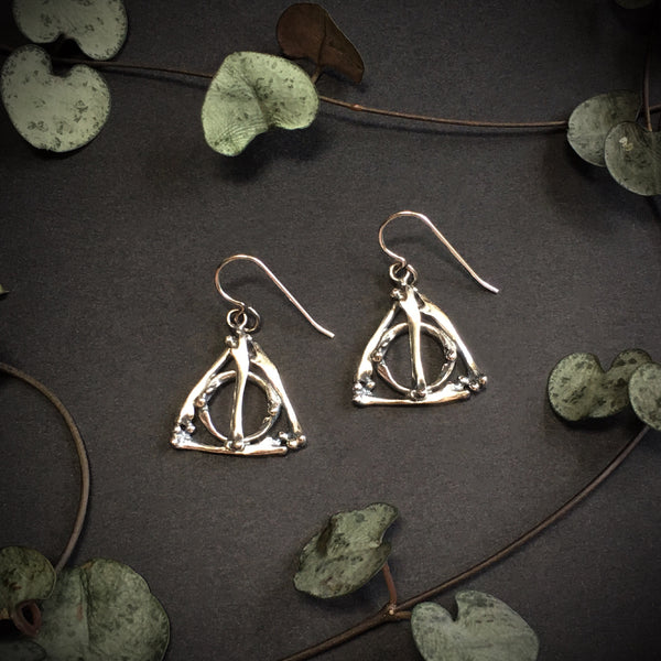 Deathly Hallows Small Bone Earrings - Ready to Send