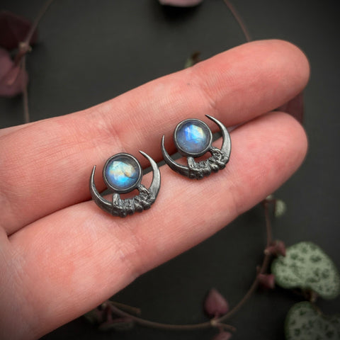 Luna Obscura Studs - Rainbow Moonstone - Ready to Ship