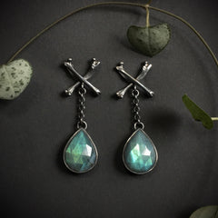 Mourning Earrings - Labradorite - Ready to Send