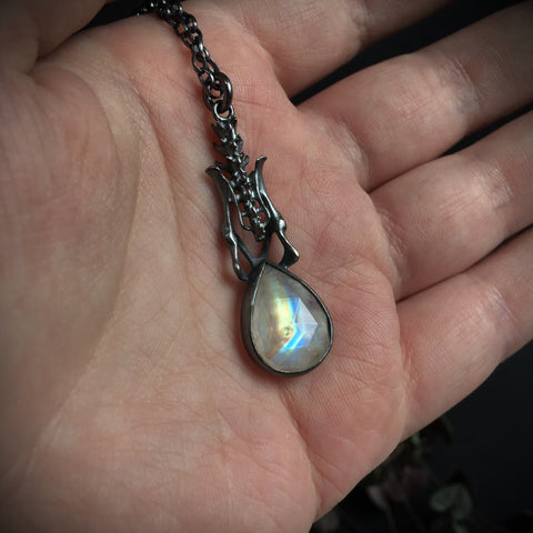 Black Death Pendant - Rainbow Moonstone - 28 inches - Ready to Send