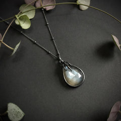 Eyrie Pendant - Dark Grey Moonstone - 18 inch - Ready to Send