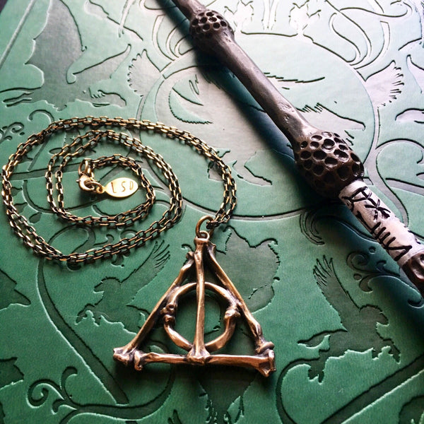 Deathly Hallows Large Bone Pendant - Bronze - 32 Inch - Ready to Send