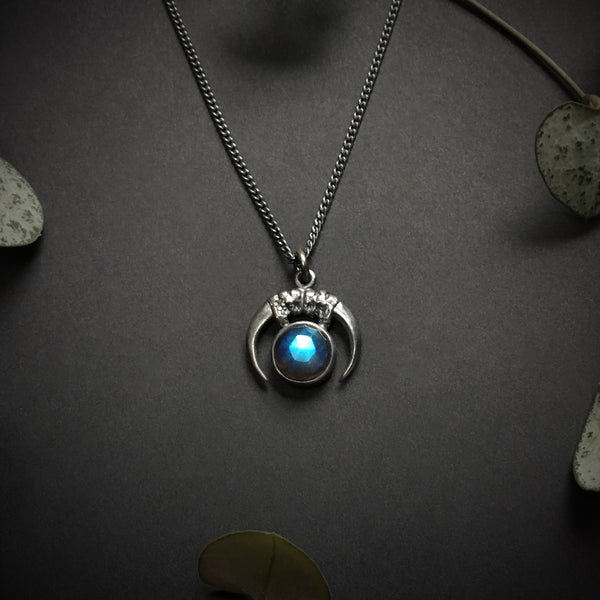 Luna Obscura Pendant - Labradorite - 16 inches - Ready to ship