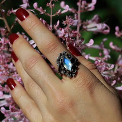Nightshade Ring (Garnet, Rainbow Moonstone and Grey Moonstone versions)