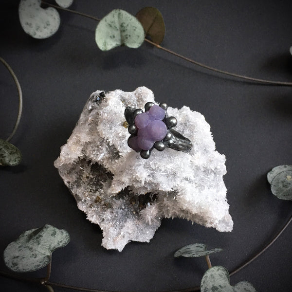 Grape Agate Ring IV OOAK Size 8.5