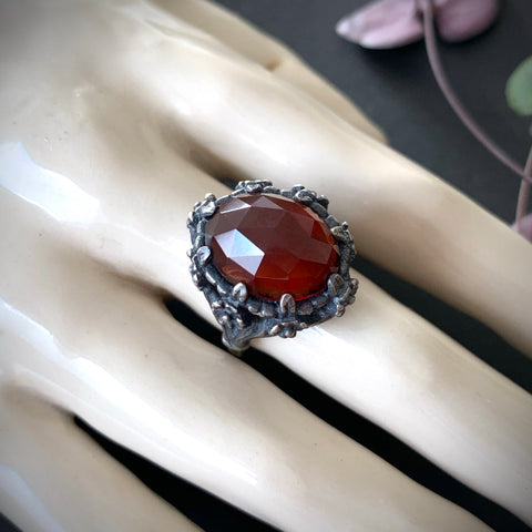 Galactic Forest Ring - Garnet - Size 7.25 (fits size 7.75) - Ready to ship