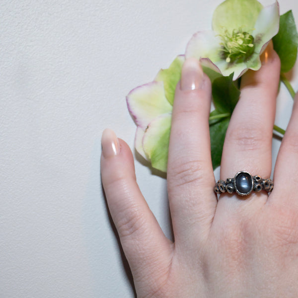 Atlantis Ring - Size 8.5 - Grey Moonstone - Ready to Send