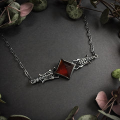 Dark Magic Necklace - Garnet - 16 inch chain - Ready to Send