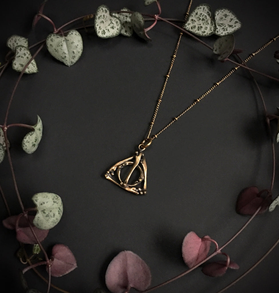 Deathly hallows small bone pendant bronze 18 inches ready to deathly biocorpaavc Choice Image
