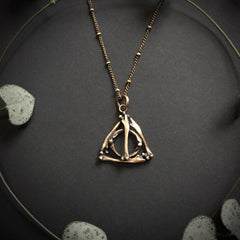 Deathly Hallows Small Bone Pendant - Bronze - 18 inches - Ready to Send