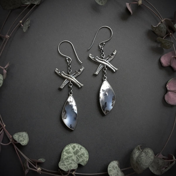 The Night Queen Earrings - OOAK Dendritic opal