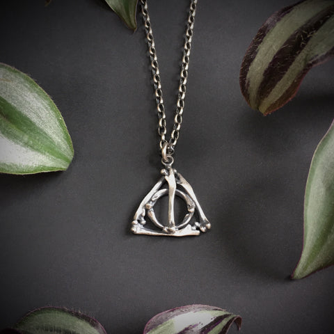 Deathly Hallows Small Bone Pendant - 18 inches - Ready to Send