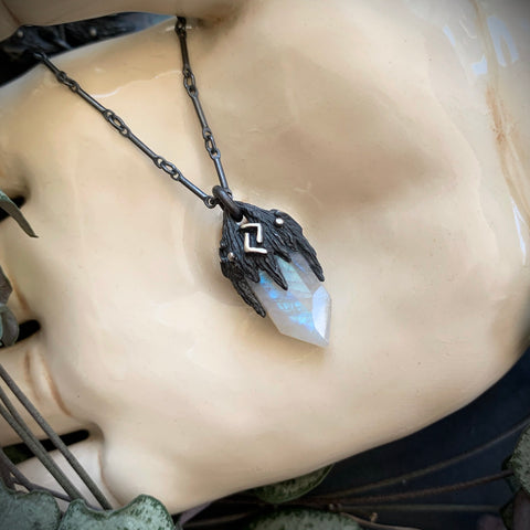 Ancient Runes Pendant - Moonstone OOAK