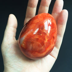Carnelian Agate Crystal Dragon Egg with Wooden Stand