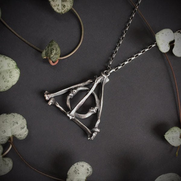Deathly Hallows Large Bone Pendant - 30 inches - Ready to Send