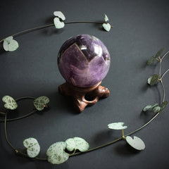 Chevron Amethyst Ball and Wooden Stand