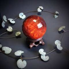 Carnelian Agate Ball with Carved Wooden stand