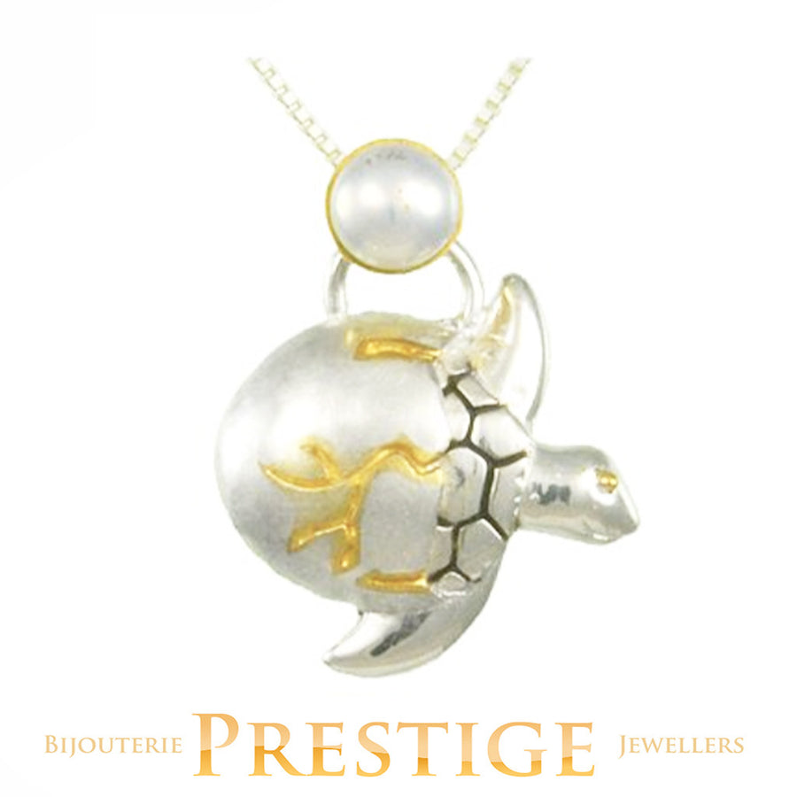 MICHOU SILVER & 22KT VERMEIL TURTLE IN EGG NECKLACE