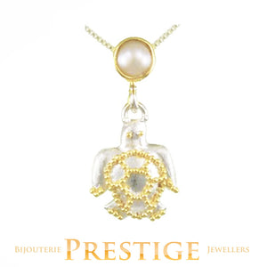 MICHOU SILVER & 22KT VERMEIL TURTLE  NECKLACE