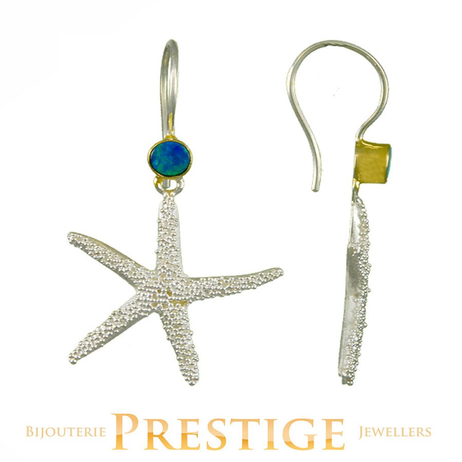 MICHOU SILVER & 22KT STARFISH OPAL EARRINGS