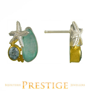 MICHOU SILVER & 22KT AMAZONITE, QUARTZ & MOP SEALIFE EARRINGS